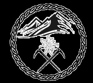 Le logo de Randonnée Passion avec des montagnes, la fleur edelweiss, des piolets et une corde.